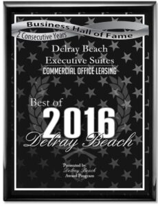 Delray Beach Executive Suites Award for Commercial Office Leasing
